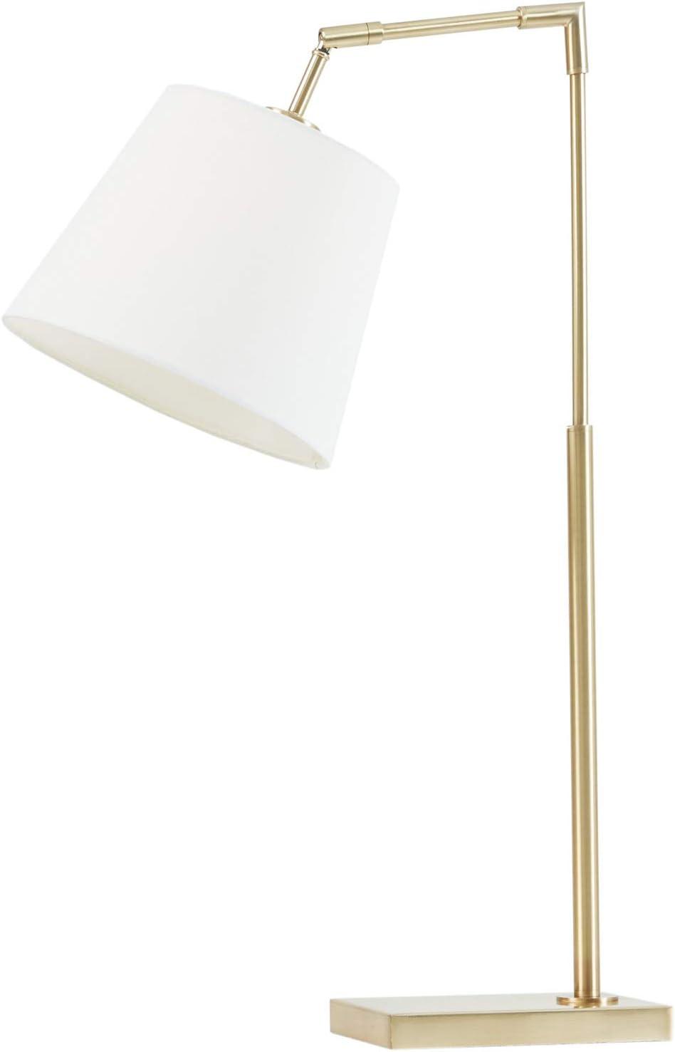 "Martha Stewart Kenley Table Lamp Living Room Decor - Angular Metal Base, Adjustable Tapered Drum Shade, Modern Home Office Desk Lighting, Nightstand Reading Light for Bedroom, 14"" X 10"" X 28.25"""