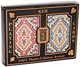 KEM Paisley Red and Blue, Bridge Size-Jumbo Index Playing Cards (Pack of 2)
