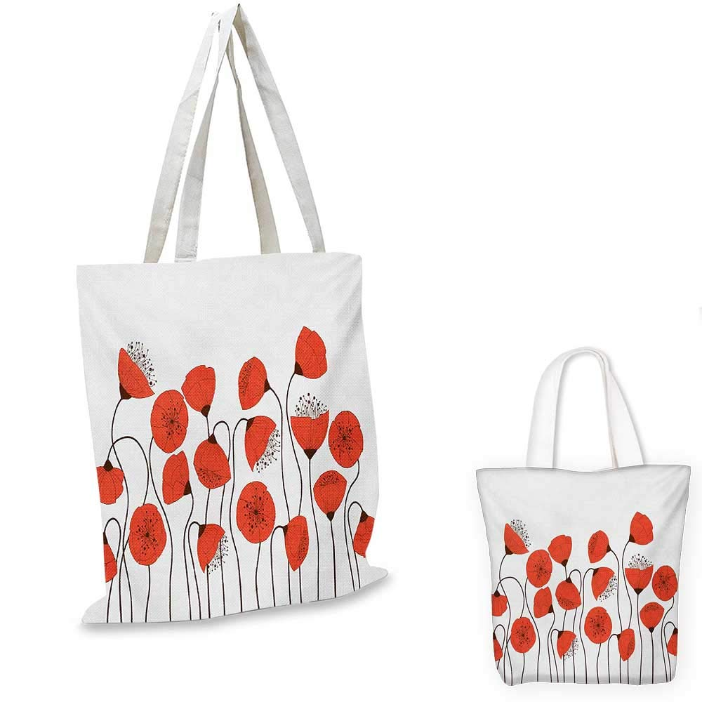 Flower canvas messenger bag Poppy Flowers Blossom Art Deco Style Summertime Garden Modern Repetition canvas beach bag Vermillion and Pearl 12x15-10