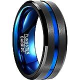 Vakki メンズ リング 指輪 レアメタル【タングステン】 超硬 真空メッキ 色落ちない ブルーライン 幅広さ8mm