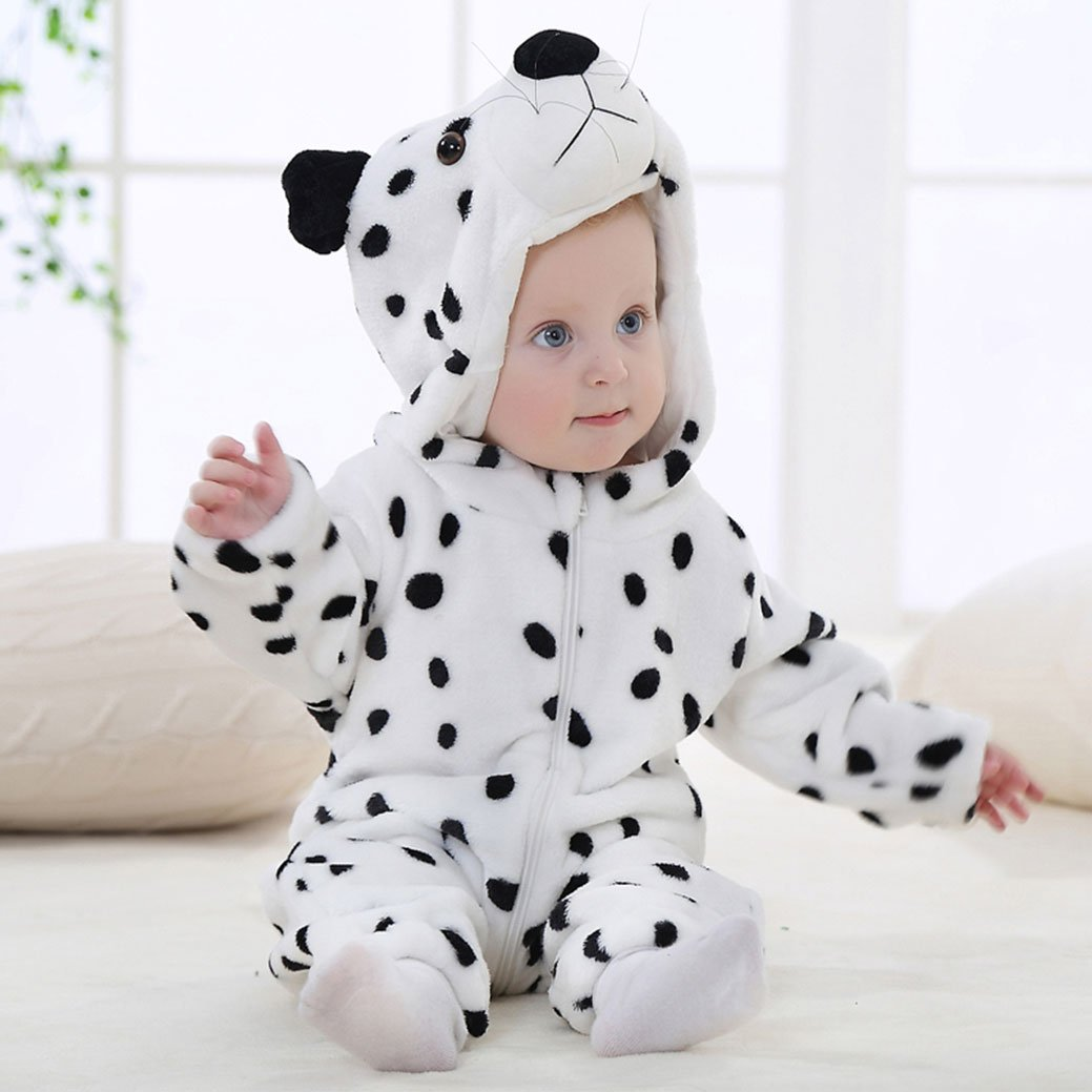 Amazemarket 0-5 Years Baby Infant Jumpsuit Set Hooded Romper Super Cute Animals Design Soft Flannel Toddler Climb Clothes Kids Casual Christmas Costumes 70 cm, Blue Stitch
