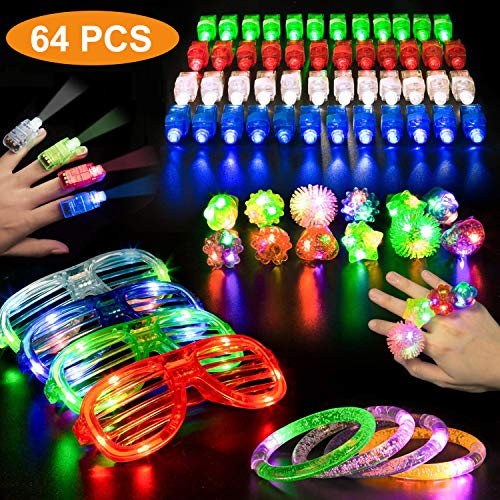 Atiikee 64 PCS LED Light Up Toys Party Favors Glow in The Dark Party Supplies for Kid Adults with 40 Finger Lights, 12 Jelly Rings, 6 LED Flashing Glasses, 6 LED Bracelets