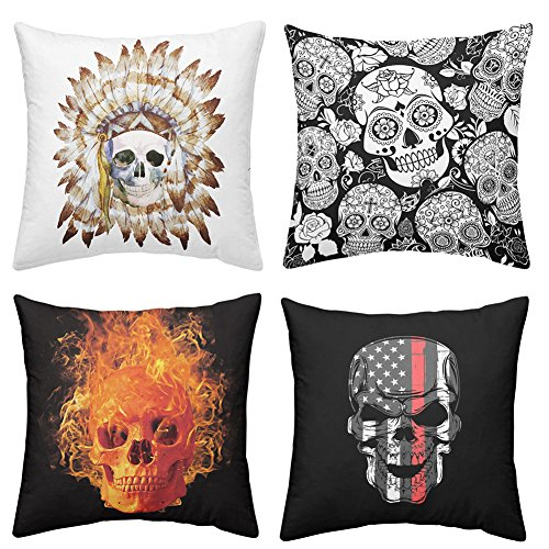 Rhap Cushion Cover 18x18inch, 45x45cm Set of 4pcs Skull Series Hippies Style