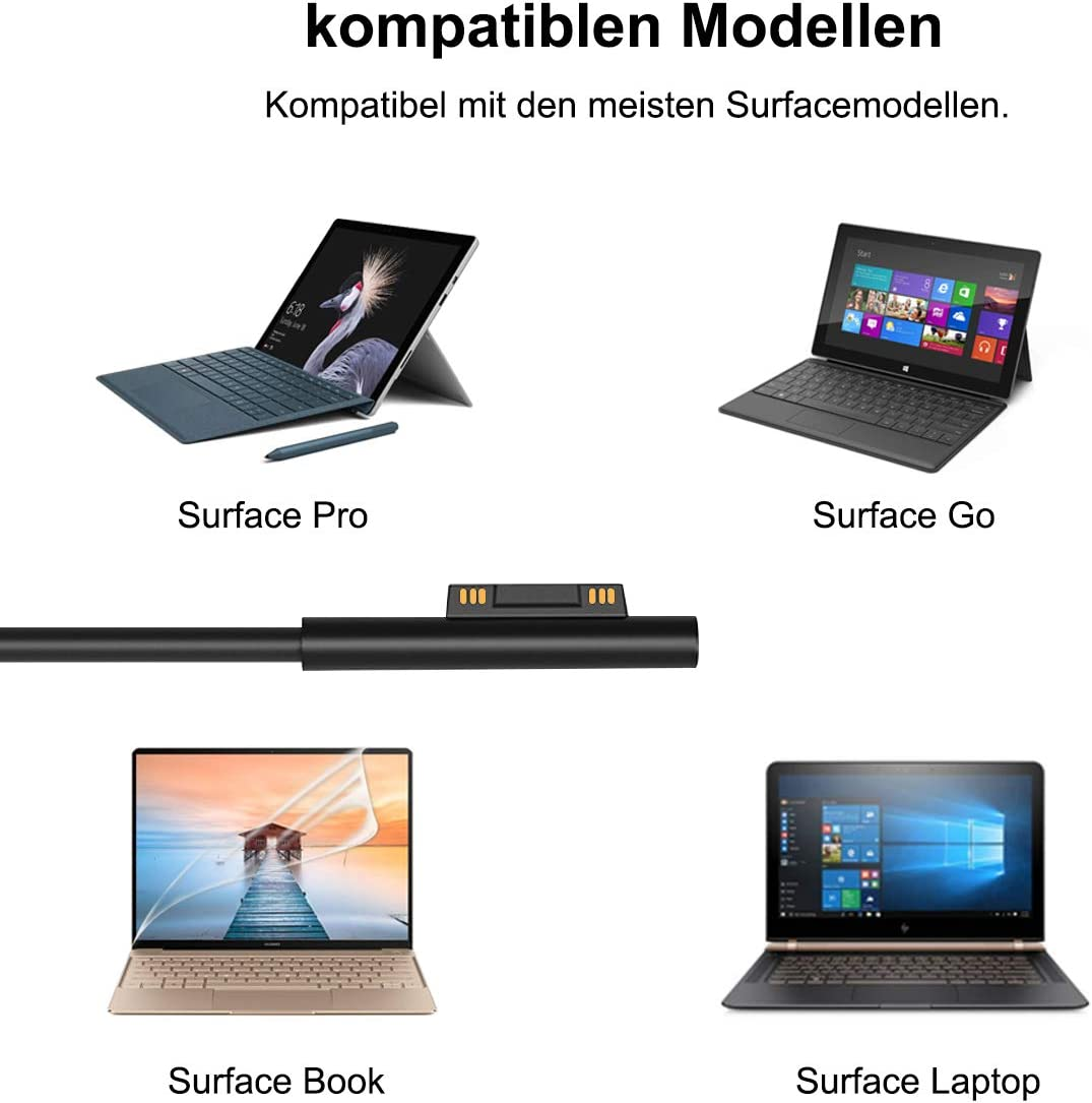 Surface Laptop 3//2//1 Surface Go 2//1 iPad Phone Surface Pro Auto Ladeger/ät Netzteil USB C Auto Ladeger/ät Netzteil f/ür Microsoft Surface Pro X//7//6//5//4//3 Switch Surface Book