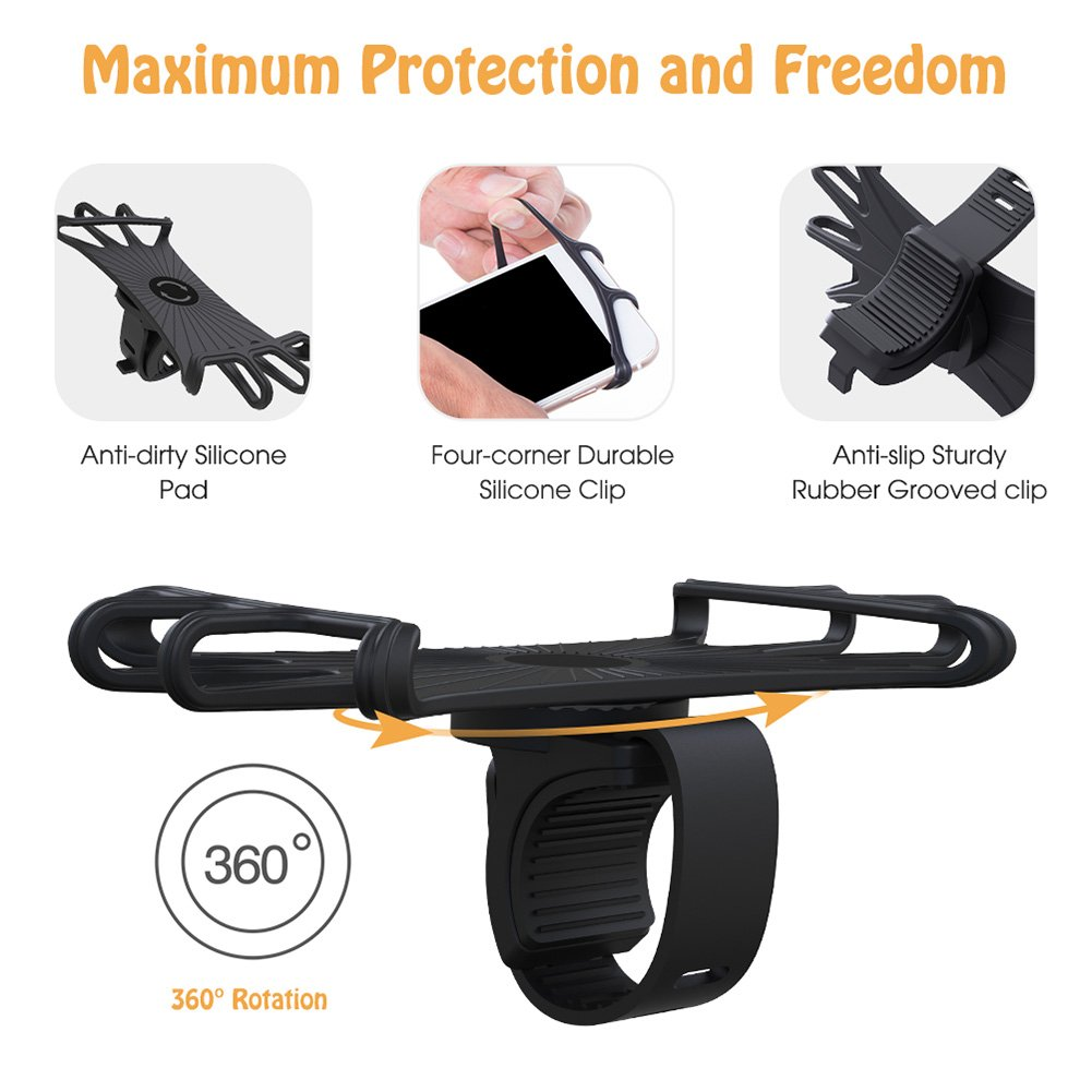 VUP Silicone Bike Phone Mount for iPhone X/8 Plus/8/7 Plus, Galaxy S8 Plus, Nexus, Nokia, LG, Universal Bicycle Motorcycle Handlebars Adjustable Cell Phone Holder, 360° Rotation by VUP (Image #2)