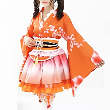 Japanese Yukata Kimono Costume Cosplay Party Costume Set