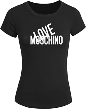Camiseta para mujeres, manga corta, con texto «Love Moschino»