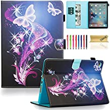 iPad Air 2 Case, iPad 6 Case, Dteck(TM) Pretty Cute Cartoon Flip Smart Stand Case with [Auto Sleep Wake] Premium Synthetic Leather Magnetic Wallet Cover for Apple iPad Air 2-Purple Butterfly