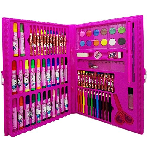 Crayon Sharpener Costume (Happlee, 86pcs/set Watercolor Pen Painting Tool, Art Set For Kids and Activity Drawing and Marker Pen Set, Kids Arts and Crafts Projects, Colored Pencils, Color Crayons (Red) - Packaging May Vary)