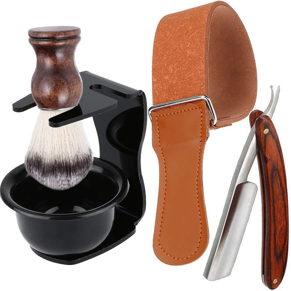 Shaving Kit 5 in 1 Men Beard Grooming Set - Professional Straight Edge Razor, Leather Strop, Shave Brush, Plastic Bowl, Safety Razor Stand, Manual Shaver Tool Gift Sets