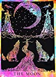 Multi color Tie Dye Crying Wolf of The Moon Tarot Tapestry wall hanging Dorm ...