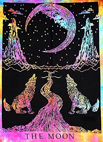 Multi color Tie Dye Crying Wolf of The Moon Tarot Tapestry wall hanging Dorm Decor psychedelic Wall Tapestries Bohemian Bedding Indian Cotton Bedspread Picnic Bedsheet Blanket Wall -