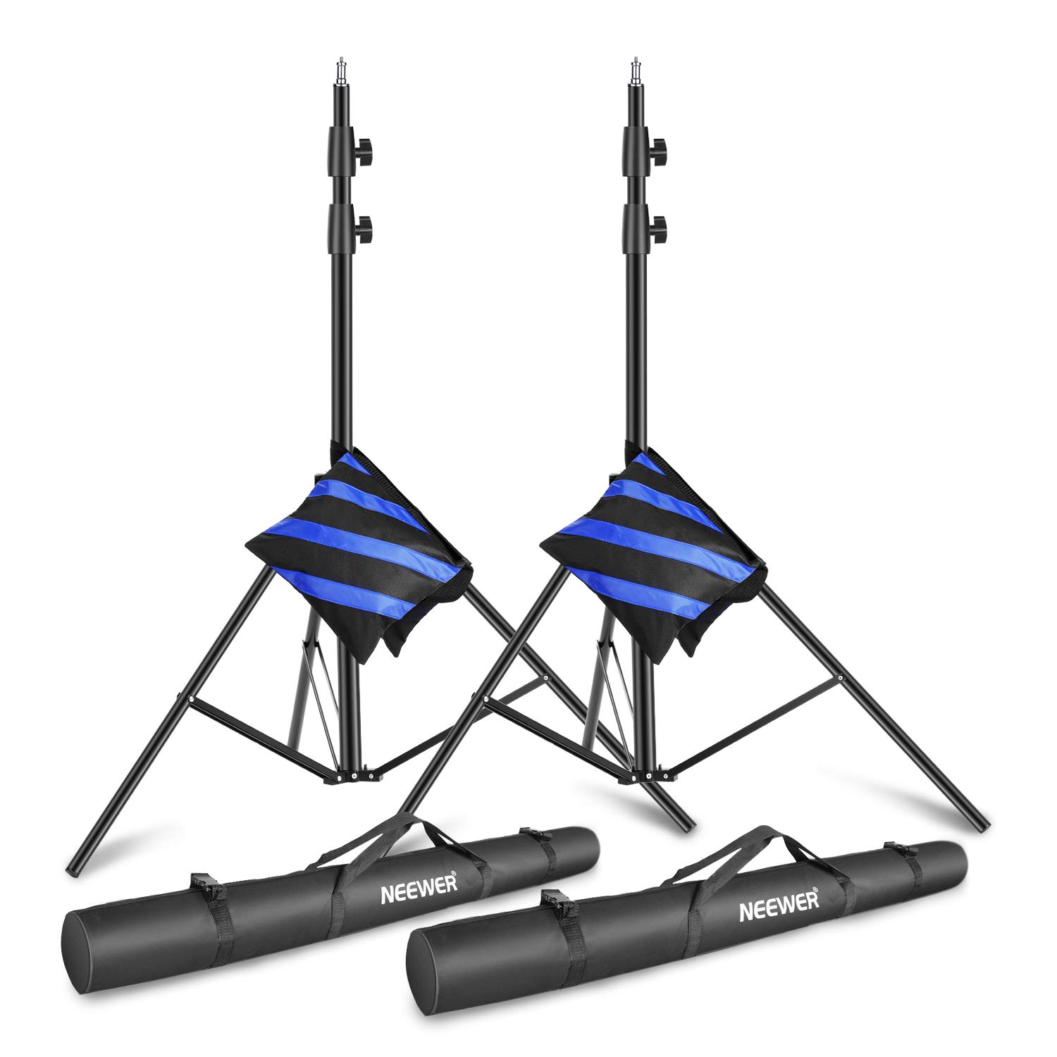 Neewer Light Stands 10 Feet/3 Meters, Pro Heavy Duty Spring Cushioned, All Metal Locking Collars, Set of 2 (Black Finish) with Carry Bags and Sandbags for Photo Video Photography HTC Vive, etc by Neewer
