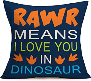 Tlovudori Cotton Linen Pillow Covers Multicolor Quote Letters RAWR Means I Love You in Dinosaur Throw Pillow Case Cushion Cover Pillowcase for Sofa Home Bed Decorative 18