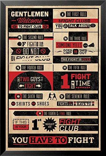buyartforless IF PA PP32912A 36x24 1.25 Black Framed Fight Club Rules - Gentlemen Welcome 36X24 Movie Art Print - Glasses Brad Pit