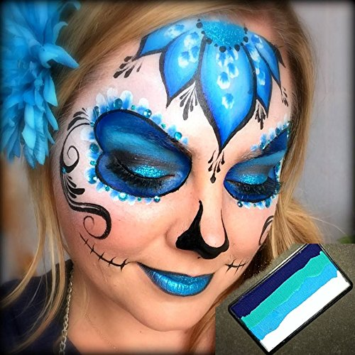 Tutorial Makeup Skull (Face Paint Kryvaline Professional Face and Body Paint Lagoon 30g with Lisa Joy Young Matching Design Sugar)