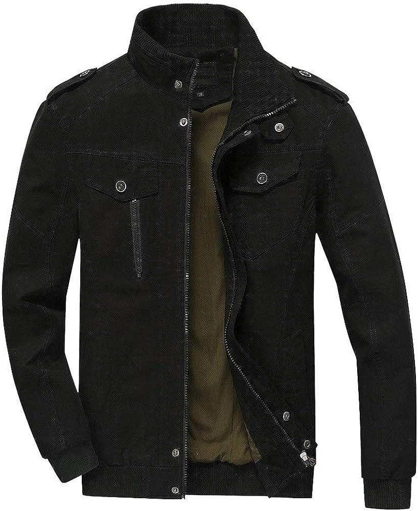 Dacawin Men Winter Warm Jacket Comfort Slim Long Trench Button Zipper Coat Overcoat