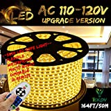 Warm White Color LED Strip Light, IEKOV™ AC 110-120V Flexible/Waterproof/Multi-Modes function/Dimmable SMD5050 LED Rope Light with Remote for Home/Office/Building Decoration (164ft/50m)