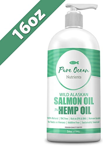 Wild Alaskan Salmon Fish Hemp Seed Oil for Dogs 16 oz Natural Liquid Supplement with Omega 3 s Support Joint, Heart, and Immune Health Essential Fatty Acids Promote a Shiny Coat and Healthy Skin