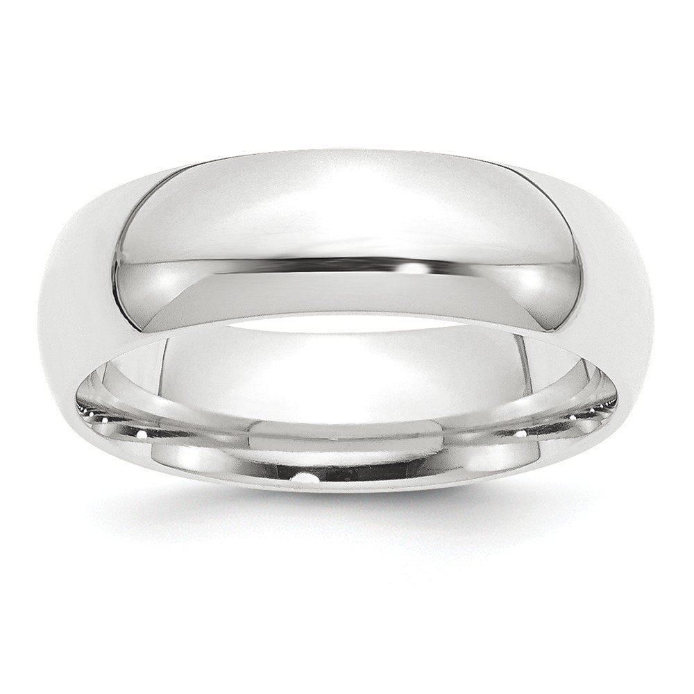 Platinum 8mm Half-Round Comfort Fit Lightweight Wedding Band Size 7