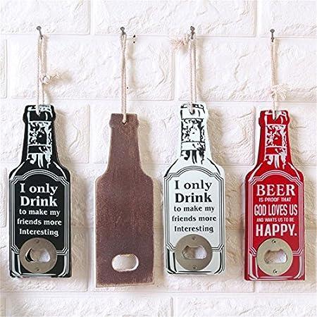 ACAMPTAR adorno colgante de pared rojo I only words retro bar de madera restaurante tienda de decoración multiusos sacacorchos abridor de botellas