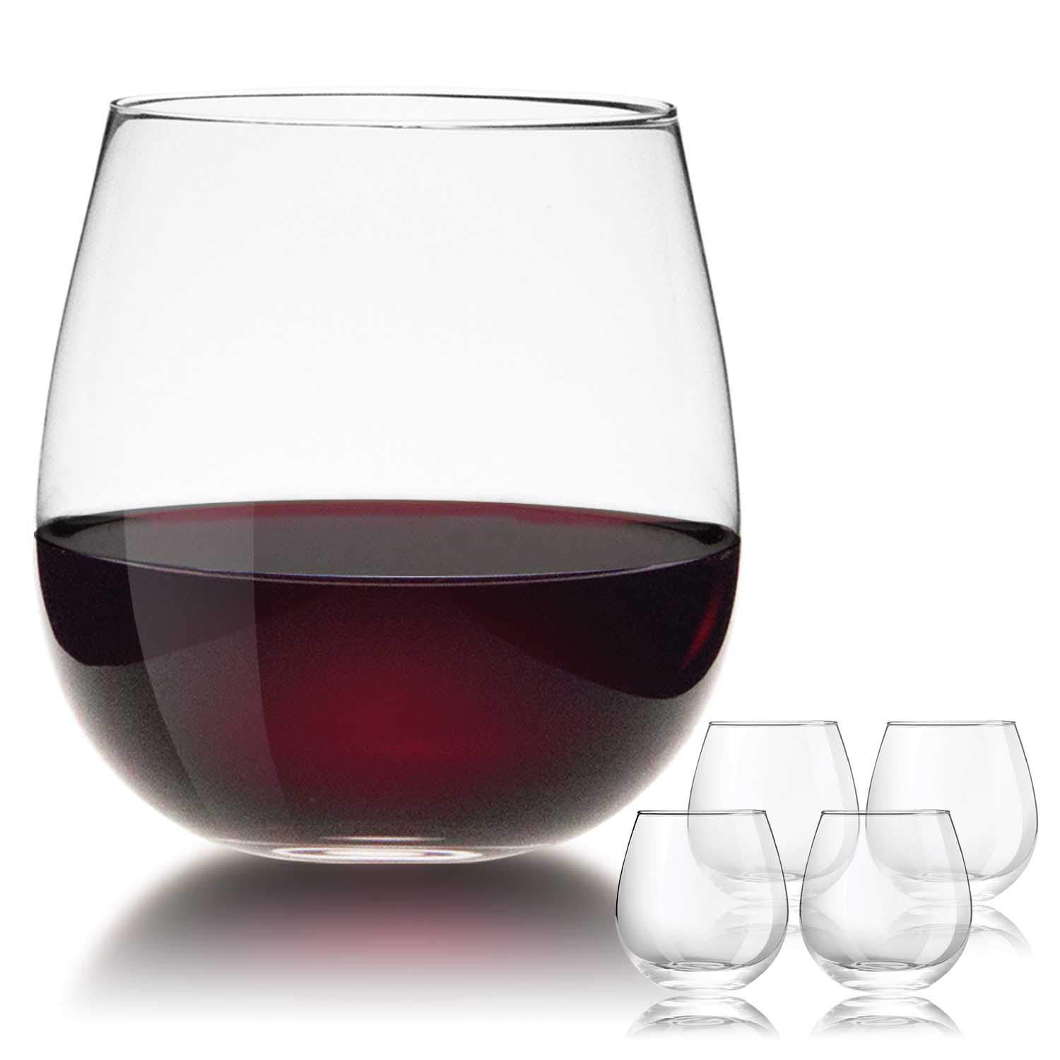 JBHome Hand Made Crystal Stemless Wine Glasses 15oz, Set of 4, For White/Red Wine, Perfect Handhold for Swirling, Wine Glass Set in a Gift Box