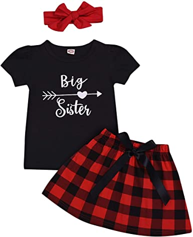 Newborn Baby Girl Sister Matching Xmas Outfits Red Plaid Lace Short Sleeve Romper Kid Girl Bowknot Dress Clothes