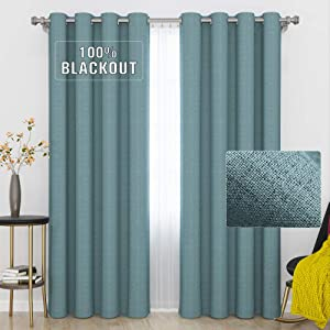 GRALI Teal Blue Blackout Curtains Block Full Light Window Treatment Thermal Insulated Energy Saving Faux Linen Drapes for Home Decorating, 52 x 95, Set of 2