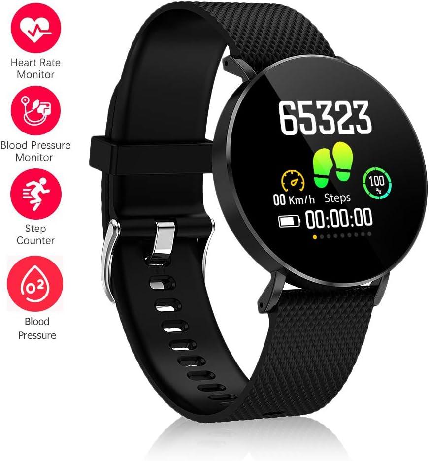 Fitness Tracker,Gearlifee IP68 Waterproof Reloj pulsera con monitor de ritmo cardíaco, presión arterial, oxígeno en la sangre, monitor de sueño, SMS, podómetro para iPhone Android(Banda de silicona)