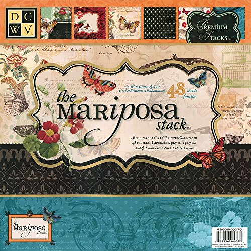 - DCWV Premium Stacks, Mariposa Matstack with Glitter and Foil, 48 Sheets, 12 x 12 inches