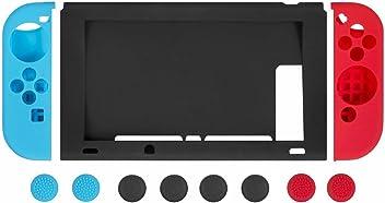 booEy 11in1 Set Silikon Schutzhüllen und Schutzkappen für Nintendo Switch in Rot und Blau