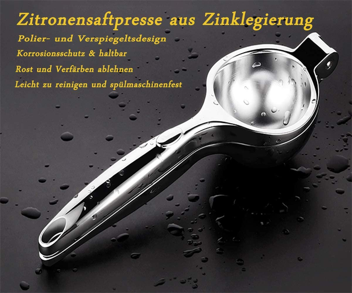in lega di zinco sicuro e facile da pulire anti-corrosivo e lavabile in lavastoviglie Spremiagrumi manuale con custodia iFoxtEK