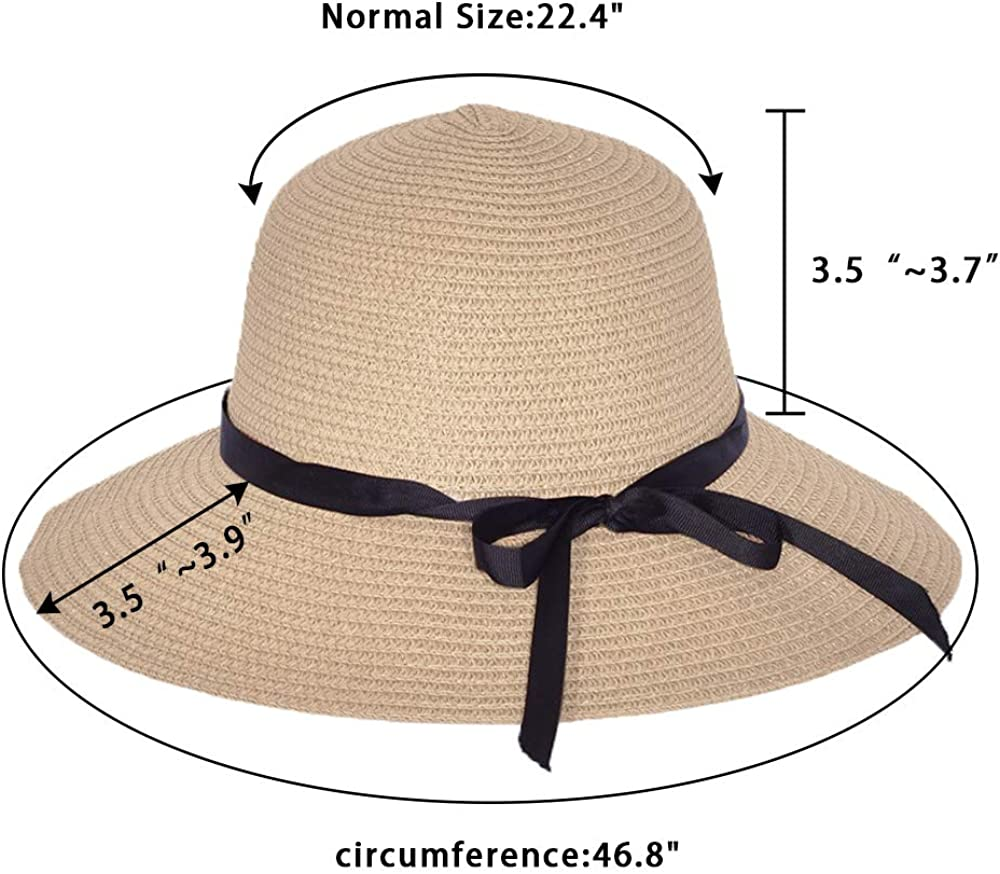 Women Wide Brim Straw Sun Hats Foldable Summer Beach Hat UPF50 UV Protection