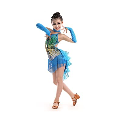 b13f8e4b0f4e Amazon.com: Girls Sparkling Latin Rumba Salsa Dresses Sequin Double Tassel  Dance Competition Costumes: Clothing