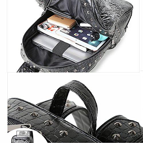Doppel Schulter Tasche 3D Tiger Head Kopf iPad Rucksack (Gold) Schwarz