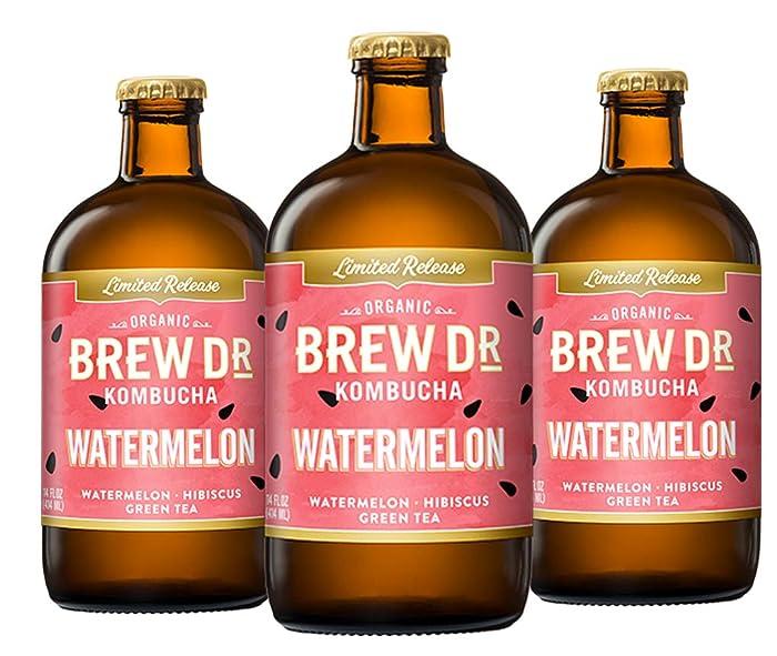 Brew Dr Watermelon Raw Organic Kombucha, 14 oz bottles, (3 Pack)
