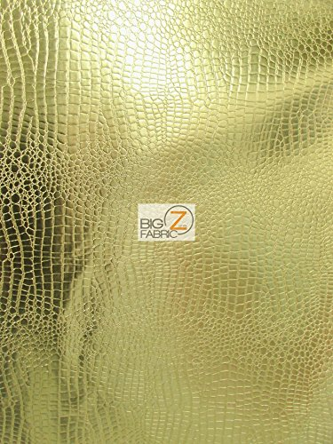 Big Z Fabric Vinyl Faux Fake Leather Pleather Embossed Shiny Alligator Fabric By The Yard DIY Upholstery Accessories ()