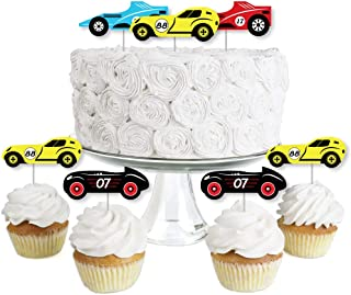 product image for Let's Go Racing - Racecar - Dessert Cupcake Toppers - Race Car Birthday Party or Baby Shower Clear Treat Picks - Set of 24