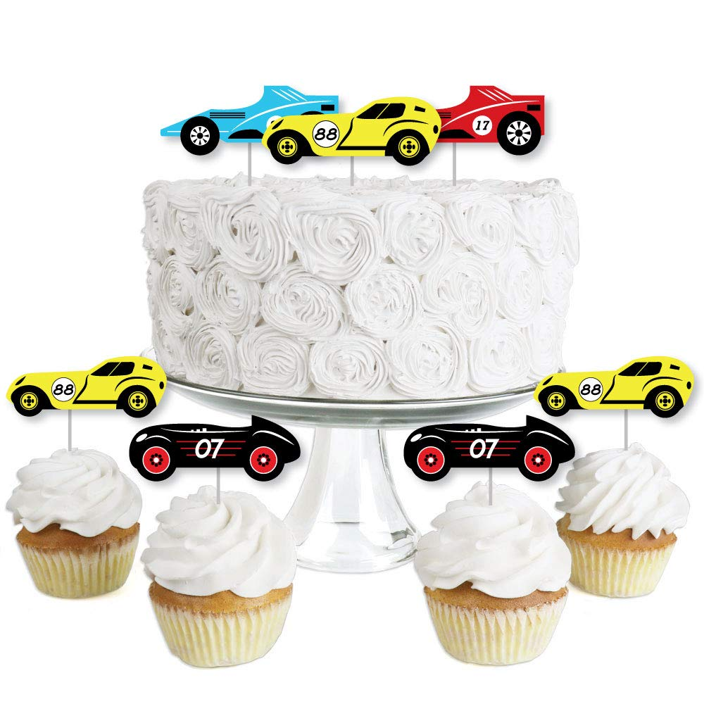 Let's Go Racing - Racecar - Dessert Cupcake Toppers - Race Car Birthday Party or Baby Shower Clear Treat Picks - Set of 24 by Big Dot of Happiness