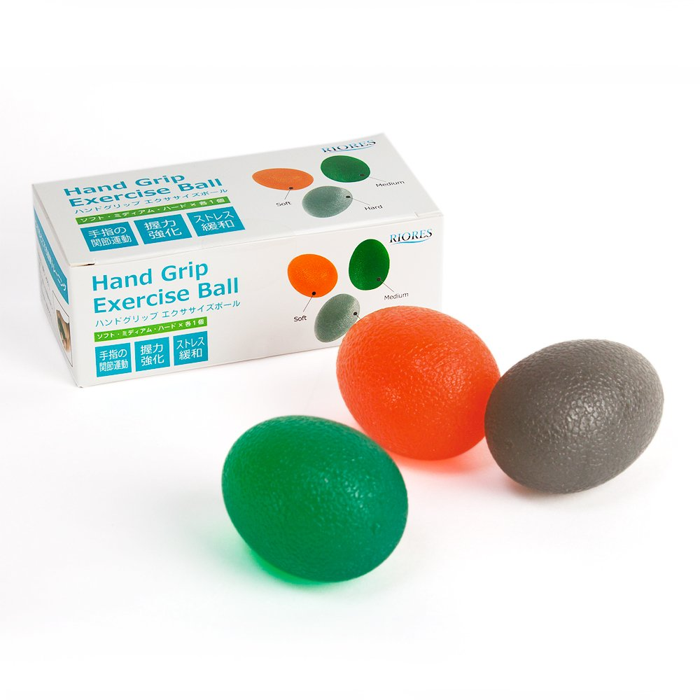 Hand Strengthening Stress Relief Balls by RIORES | Finger Muscle Therapy Grip Rehabilitation Exercises - Set of 3 Squeeze Resistant Eggs by RIORES