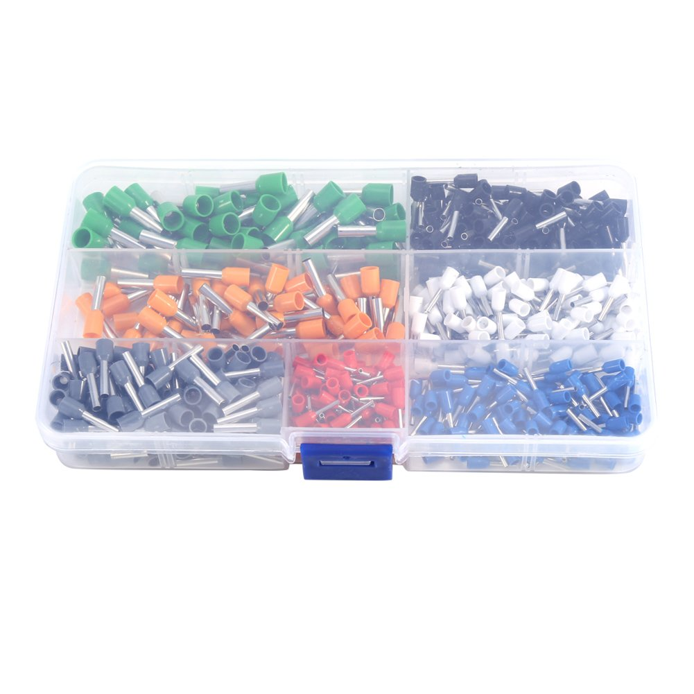 600Pcs AWG 22-10 Kit Ferrule Wire Copper Crimp Connector Insulated Ring Cord Tube Terminal Assortment with Plastic Box Zerone