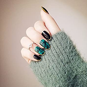 Amazon 24 Pieces Green Fake Nails Sharp Golden Side Tips For