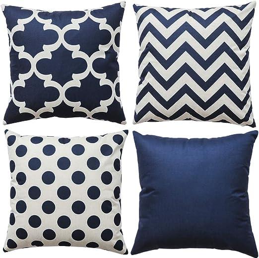 Amazon.com: WLNUI Set of 4 Navy Blue Decorative Throw Pillow
