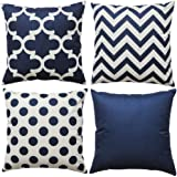 WLNUI Set of 4 Navy Blue Decorative Throw Pillow Covers Square Farmhouse Cotton Linen Polka Dot Cushion Cases for Sofa…