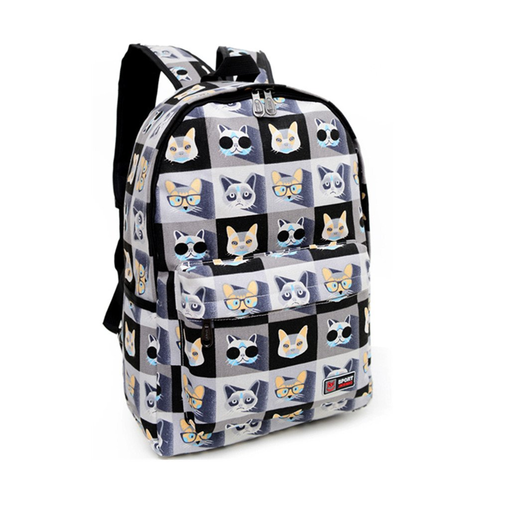 Olivia Lightweight Cat Print Canvas Backpack School Bag Mini Casual Daypack for Kids Young Adults Bag Purse Black