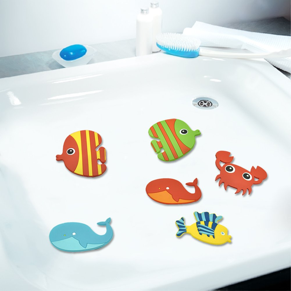 XYi Antislip Bathtub Stickers to Decorate Your Bathtub. 12 Large Marine Life Stickers. Environmentally Friendly Silicone Slip. The Longest Continuous Anti-Slip. Bathtub Safety in The Bathroom