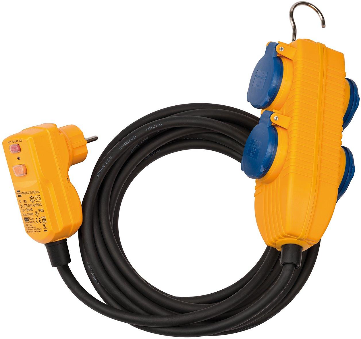 Brennenstuhl 1168730010 Schutzadapterleitung FI IP44 mit Powerblock 10m schwarz H07RN-F 3G1,5, 230 V