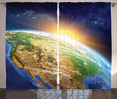 "Outer Space Decor Curtains Celestial View of Sunrise over the Planet Earth with Star Field Beyond Pacific Ocean View Living Room Bedroom Decor 2 Panel Set Multi,Size:2 x 54""W By 84""H"