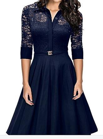 sekitoba-japan.inc 3/4 Sleeve Floral Lace Knee Length Dress for Women