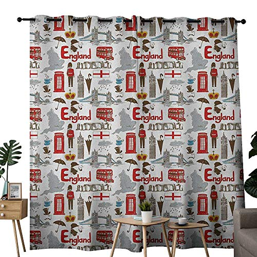 Stonehenge Ties - NUOMANAN Window Curtains London,Fun Colorful Sketch Royal Guard Map Rain Famous Country Landmarks and Stonehenge, Multicolor,Tie Up Window Drapes Living Room 100